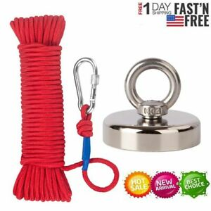 New 1000lb Fishing Magnet Kit Strong Neodymium Pull Force With Rope