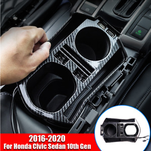 Fits Honda Civic 2016 2020 Carbon Fiber Interior Console Storage Box With Usb