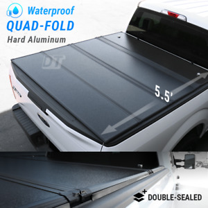 Hard Quad Fold Tonneau Cover For 2009 2021 F 150 5 5ft Bed Waterproof Aluminum