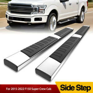 6 Running Boards For 15 21 Ford F 150 Super Crew Cab Steel Nerf Bars Side Steps