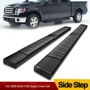 For 09 14 Ford F 150 Super Crew Cab 6 Running Boards Black Nerf Bars Side Steps
