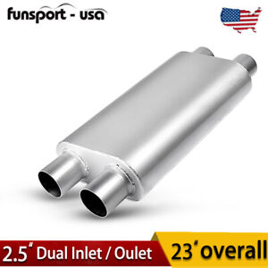 3 Chamber Race Exhaust Muffler 2 5 Inlet 2 5 Outlet Dual 23 Oval Body Length