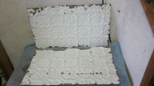 2 Antique Victorian Detailed Embossed Tin Ceiling Tiles 14 X 24