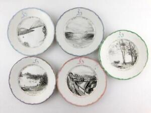 Lot Of 5 Antique 1898 G P Co Hand Painted Plates Landscapes Scenes Good Cond