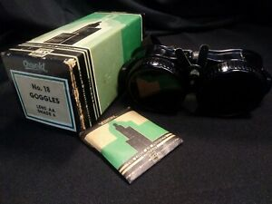 Vintage Oxweld No 18 Welding Goggles Glass Lenses Aa Shade 6 Med Original Box