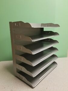 Vintage Industrial Grey Metal Desk Paper Organizer 6 Tray Flash Mid Century