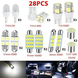 28pcs Auto Car Interior Led Lights Dome License Plate Mixed Lamp Kit Accessories