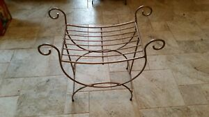 Vintage Small Heavy Wrought Iron Wire Vanity Bench Seat Stool