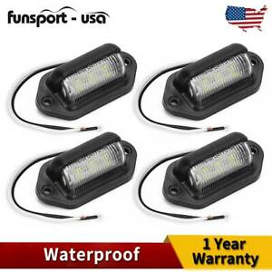4x White Led License Plate Tag Light Car Truck Trailer Boat Lamp Marker Light