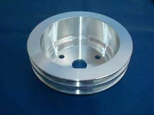 Sb Chevy Brushed Aluminum Pulley Long Water Pump 2 Groove Crank Pulley Camaro