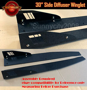 30 Textured Black Side Skirt Splitter Winglet Wing Canard Diffusers For Vw
