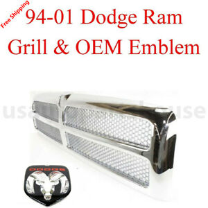 New 1994 2001 For Dodge Ram 1500 2500 3500 Chrome Grill Oem Ch1200178 2pcs