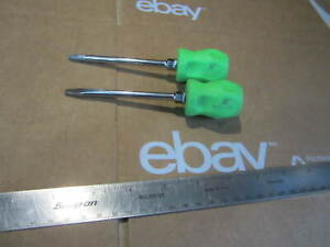 Snap On Tools 4 Stubby Green 2 Phillips 1 4 Straight Flat Screwdriver Set