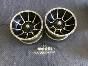 Pair 2 Polished 15x8 1 2 Vector Style Wheels Chevy 5 On 5 Chevy Van Nice