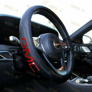 New Real Leather For Gmc Black New 15 Diameter Car Auto Steering Wheel Cover