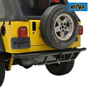 Eag Rear Bumper W hitch Receiver Black Textured Fits 87 06 Jeep Wrangler Tj yj