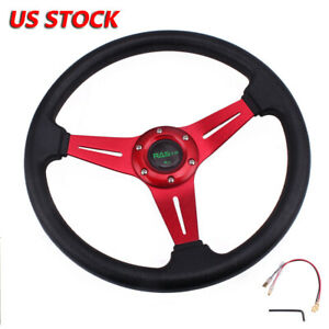 13 4 X2 36 Racing Steering Wheel Universal Aluminum Drifting Deep Dish Red Us