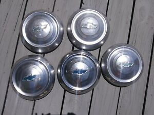 1951 1952 Chevy Dog Dish Hubcap Set Of 4