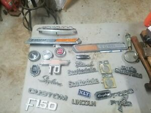 Vintage Lot Of Car And Truck Emblems Wall Art Large Lot Ratrod Ford F150 F250