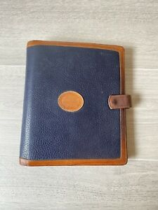 Vtg Dooney Bourke Blue Brown Leather Planner Binder Notebook 9 5 x 8 7 Ring