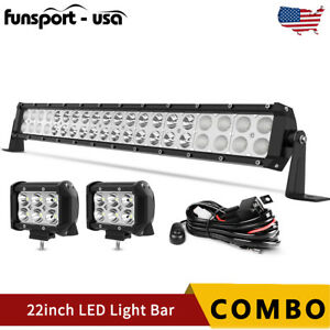 22inch Led Light Bar Spot Flood Combo 2x 4 Pods Wiring For Jeep Truck Suv