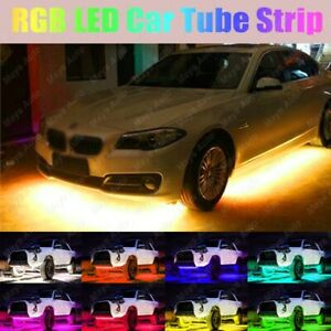 4pcs Rgb Led Strip Under Car 8 Color Light Tube Underbody System Neon Lights Kit
