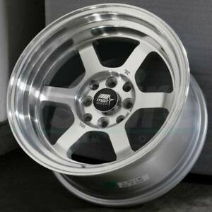 15x8 Silver Machined Wheels Mst Time Attack 4x100 4x114 3 0 set Of 4