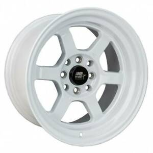 15x8 White Wheels Mst Time Attack 4x100 4x114 3 0 set Of 4
