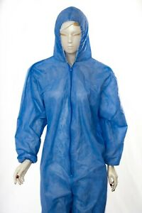 Reusable Protective Coveralls Work Wear Overalls Hooded Isolation Gown 10pcs 90