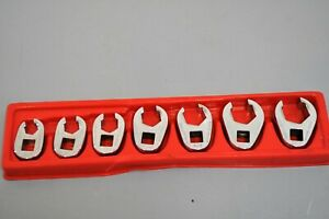 Snap on 7 Pc 3 8 Dr Sae Flank Drive Line Wrench Flare Nut Crowfoot Tool Set