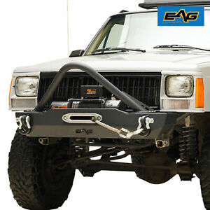 Eag Stinger Stubby Front Bumper With Winch Plate Fit 84 01 Jeep Cherokee Xj