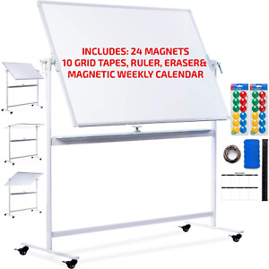 Standing Mobile Whiteboard 48x36 Portable Magnetic Dry Erase Board With Stand