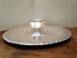 Vintage Wm Rogers Silver Plate Chip Dip Platter Round Tray