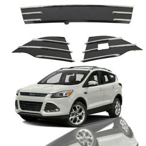 For 2013 2016 Ford Escape Front Lower Bumper Grille Fog Cover Bezels Chrome 3pcs