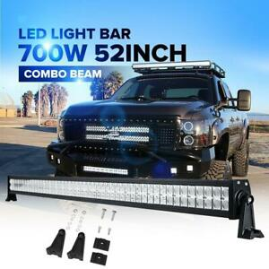 52 Led Work Light Bar 700w Combo Folding For Chevrolet Ford Jeep 50 51 54