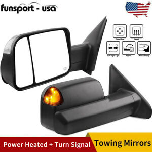 Pair Tow Mirrors Power Heated Signals For 02 08 Dodge Ram 1500 03 09 2500 3500