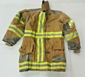 36x35 Globe Firefighter Brown Turnout Jacket Coat With Yellow Tape J838