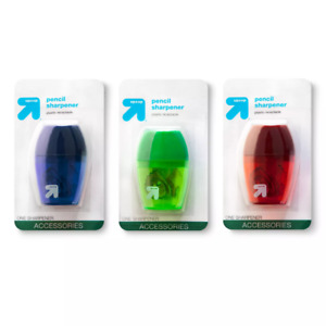 Up up Pencil Sharpener 1 Hole With Plastic Receptacle 3ct assorted Colors