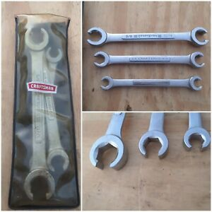 Vintage Craftsman V Series 3pc Sae Flare Nut Wrench Set 4433 Made In Usa W Pouch