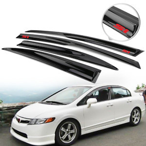 Fits 06 11 Civic Sedan Window Visors Mugen Style Rain Guard Deflector W Red Si