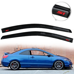 Fit For 06 11 Honda Civic Coupe Rain Window Visor Deflector Vent Guard W Red Si