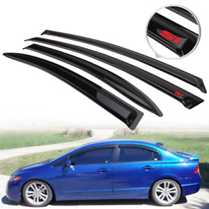 Fit For 06 11 Honda Civic Sedan Rain Window Visor Deflector Guard W Red Si