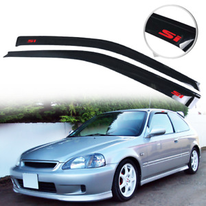 Fit For 96 00 Honda Civic Hatchback Rain Window Visor Deflector Guard W Red Si