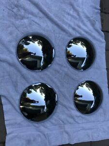 4 Vintage Baby Moon Hubcaps Wheel Covers Set Of Four Stainless Steel Chrome