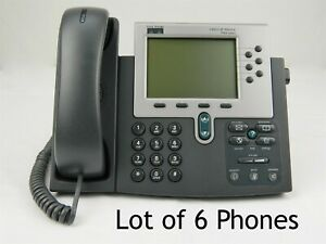 Lot Of 6 Cisco Ip Phone 7960 Series cp 7960 Voip Poe Business Phone