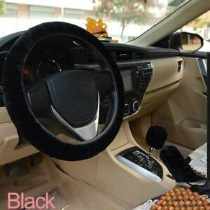 Fur Car Steering Wheel Cover Mature Gem Black Wool Furry Fluffy Thick Winter
