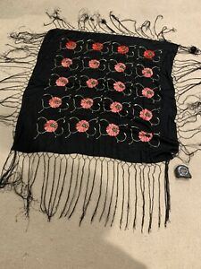 Antique Chinese Piano Shawl Scarf Silk Embroidered Throw Textile