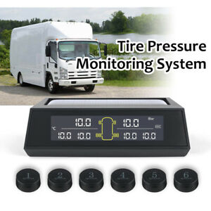 Solar Tpms Tire Pressure Monitor System 6 External Sensors For Rv Truck Ma2377