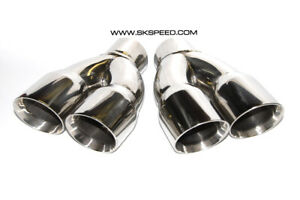 Polished Stainless Quad Slant Exhaust Tips Single 2 5 Inlet Dual 3 Outlet