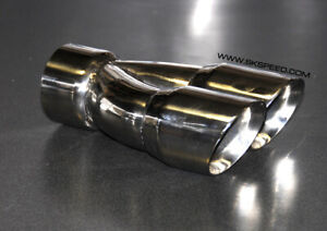 Stainless Steel Dual 3 Outlet Single 3 Inlet Slant Cut Exhaust Tip Right